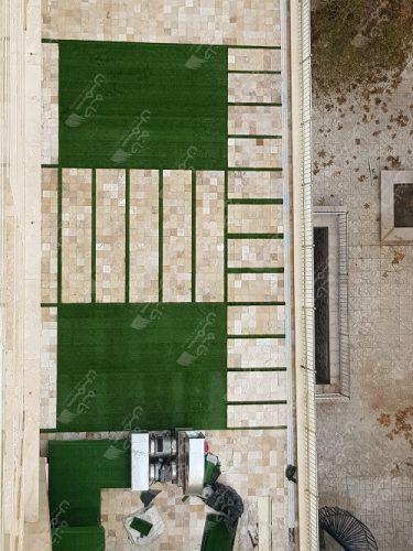 چمن مصنوعی حیاط در سعادت آباد