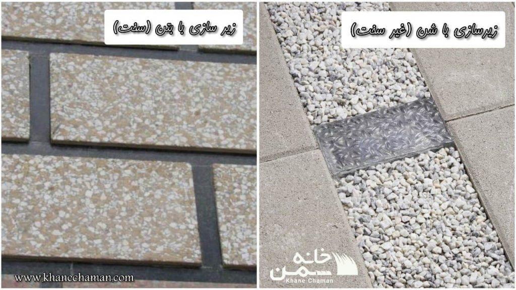 زیرسازی برای نصب چمن مصنوعی بین سنگی